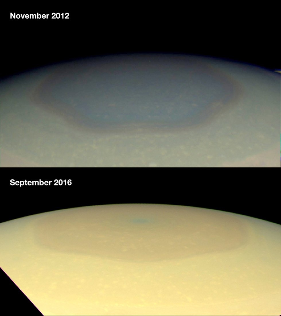Космічний апарат Cassini зареєстрував сезонні зміни величезних вихорів на полюсах Сатурна