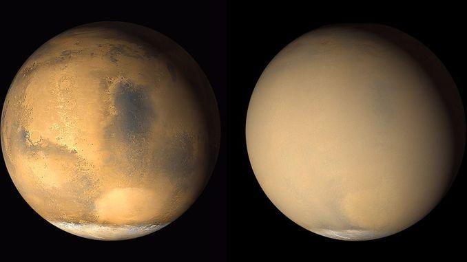 На Марсі зустрічаються пилові бурі розміром з США