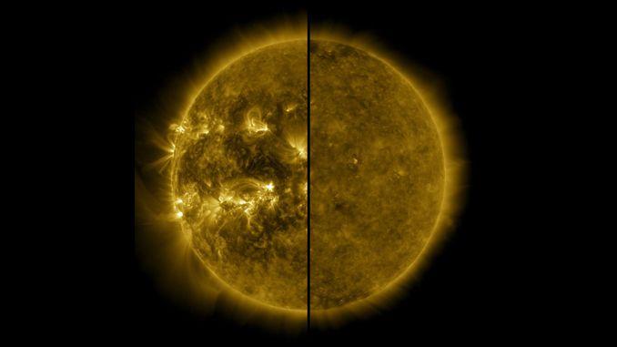 Два знімка Сонця на одному зображенні «Обсерваторії сонячної динаміки» в крайньому ультрафіолетовому: справа в мінімумі в грудні 2019 року, зліва в останньому максимумі активності в квітні 2014 року. © NASA / SDO