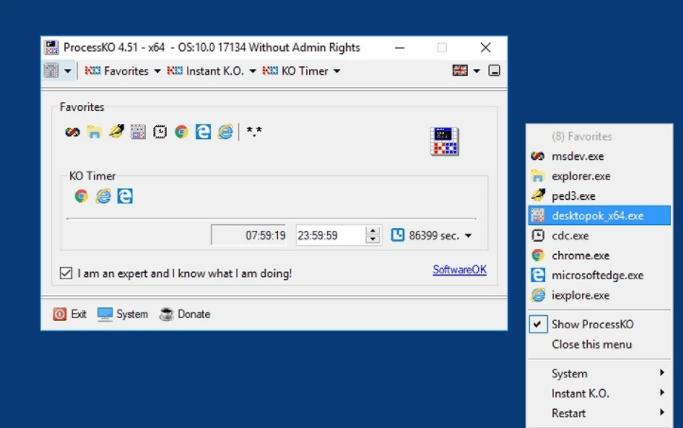 Як завершити всі зайві процеси на Windows ProcessKO